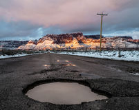 Pustynna droga w zimie Zdjęcia Stock
