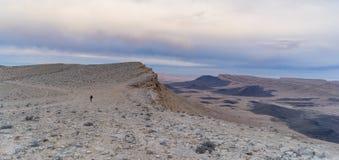 Pustynna panorama w Izrael Ramon kraterze Zdjęcia Royalty Free