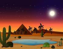 Pustynna scena przy nocą ilustracja wektor
