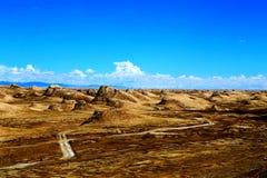 Pustynna sceneria w Tybetańskim plateau i Obrazy Royalty Free