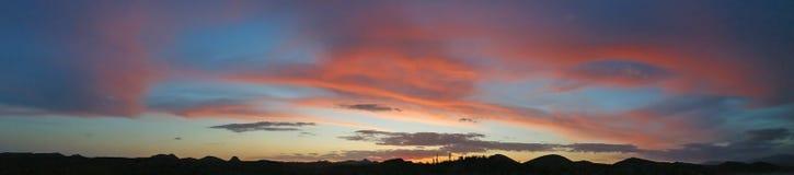 Pustynna zmierzchu Afterglow panorama Obraz Stock