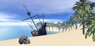 pustynnej wyspy żeglowania statek Obraz Royalty Free