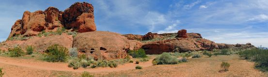Pustynni panoramiczni widoki od wycieczkować wlec wokoło St George Utah wokoło Beck wzgórza, Chuckwalla, żółw ściany, raju obręcz Obrazy Stock