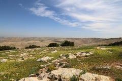 Pustynny góra krajobraz, Jordania, Środkowy Wschód (widok z lotu ptaka) Obrazy Stock