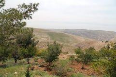 Pustynny góra krajobraz, Jordania, Środkowy Wschód (widok z lotu ptaka) Zdjęcia Stock