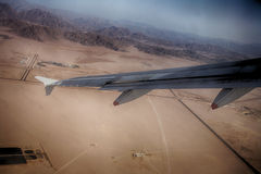 Pustynny góra widok od samolotu Zdjęcia Royalty Free