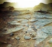 pustynny Jordan rumowy zmierzchu wadi Zdjęcia Stock