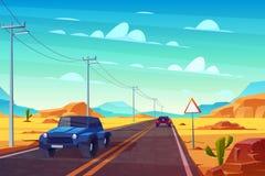 Pustynny krajobraz z autostradą i samochodami _ ilustracji