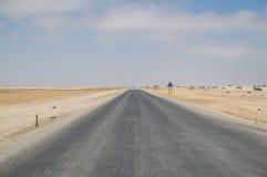 Pustynny krajobraz z autostradą blisko Swakopmund, Namibia Obraz Stock