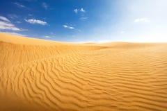 Pustynny krajobraz z niebieskim niebem Zdjęcia Royalty Free