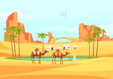 Pustynny oaza wielbłądów skład ilustracji