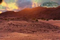 Pustynny planeta krajobraz w fantastyka naukowa Wciąż jak Komponujący fotografia stock
