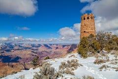 Pustynny widok wieży obserwacyjnej zimy krajobraz Fotografia Stock