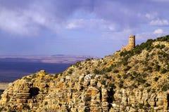 Pustynny widoku zegarka wierza, Uroczystego jaru park narodowy, Arizona Zdjęcia Royalty Free