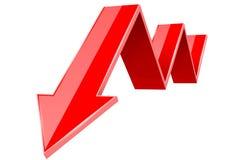 puszek strzałkowata czerwień Pieniężny statystyki 3d symbol royalty ilustracja