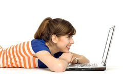 puszka laptopu łgarscy kobiety potomstwa Zdjęcie Stock