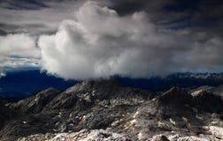Puszysta biel chmura nad Hribarice plateau, Juliańscy Alps Obrazy Stock