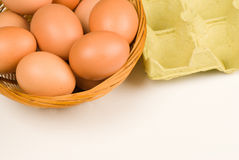 Put all eggs in the same basket. All eggs in the same basket, a savings stratedy  concept Stock Photo