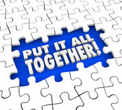Put It All Together Puzzle Pieces Solve Mystery Problem. Put It All Together puzzle pieces solving mystery or problem by seeing the full or total picture Royalty Free Stock Photo
