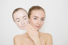 Put away bad sking with pimples,acne Royalty Free Stock Photo
