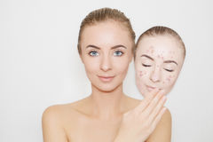 Put away bad sking with pimples,acne Royalty Free Stock Photography