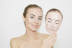Put away bad sking with pimples,acne Stock Photos