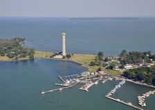 Put-in-Bay marina, aerial royalty free stock images