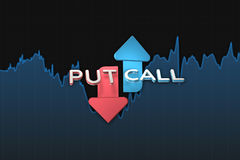 Put and call color arrows binary option chart on black. 3D illustration Stock Photo