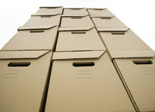 Put from cardboard boxes tower Royalty Free Stock Photos