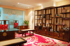 Put in Chinese furnitures of indoor. The left side in the house contain the table and chair.The left side in the house contain the table chair, The right side Royalty Free Stock Images