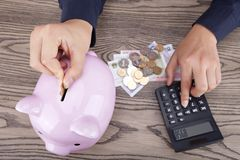 Savings. Put the coin in pingk piggy bank Royalty Free Stock Image