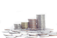 Put coin stack money for money Royalty Free Stock Photography