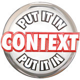 Put It In Context 3d Words Button Understand Meaning Royalty Free Stock Photos