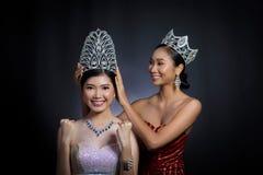 Put Diamond Crown on Final Winner latest year Miss Beauty Queen. Last year winner Miss Beauty Pageant Contest put Diamond Crown on Final Winner latest year Miss royalty free stock photo