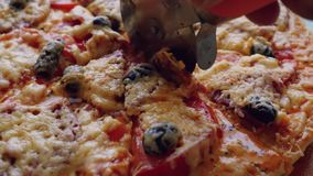 Put freshly baked pizza in the plate. 1920x1080 stock video footage