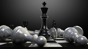 Put the king on a chessboard, and chess piece fall down animation.