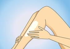 Put on leg lotion stock illustration