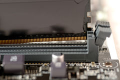 Put memory to slot. Put memory ddr4 type to slot on mainboard computer Stock Photo
