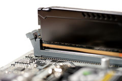 Put memory to slot. Put memory ddr4 type to slot on mainboard computer Stock Photos