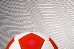 Put it in the net and score. Leather Football with copy area and to coincide with world cup Stock Photography