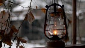 Put old kerosene lamp, outdoor stock video footage