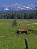 Put Out to Pasture. This image of the old engine in the field with the fence, forest and mountains in the background was taken in western MT Royalty Free Stock Photo