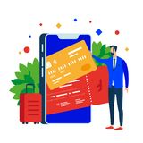 Put plastic cards and tickets in the mobile app. Smartphone and suitcase. royalty free illustration