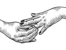 Put on precious diamond ring engraving vector. Man put on woman precious diamond ring marriage proposal engraving vector illustration. Scratch board style vector illustration