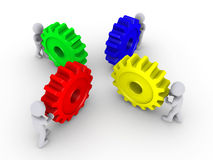 Put the right cogs together. Four 3d people pushing different color cogwheels Stock Image
