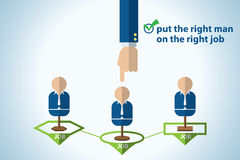 Put the right man on the right job, career management, business concept. Vector and illustration Royalty Free Stock Photo