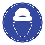 Put a safety hat,required safety sign stock photo