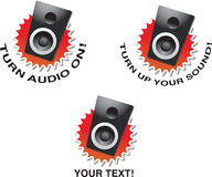 Put sound on. A set of speakers with announcement Stock Images