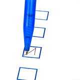 Put tick in blue square box. By blue ballpoint pen Stock Photos