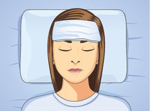Put towel onto forehead for reduce fever. Woman put towel onto forehead for reduce fever. Make reduce body temperature. This is health care illustration Stock Images